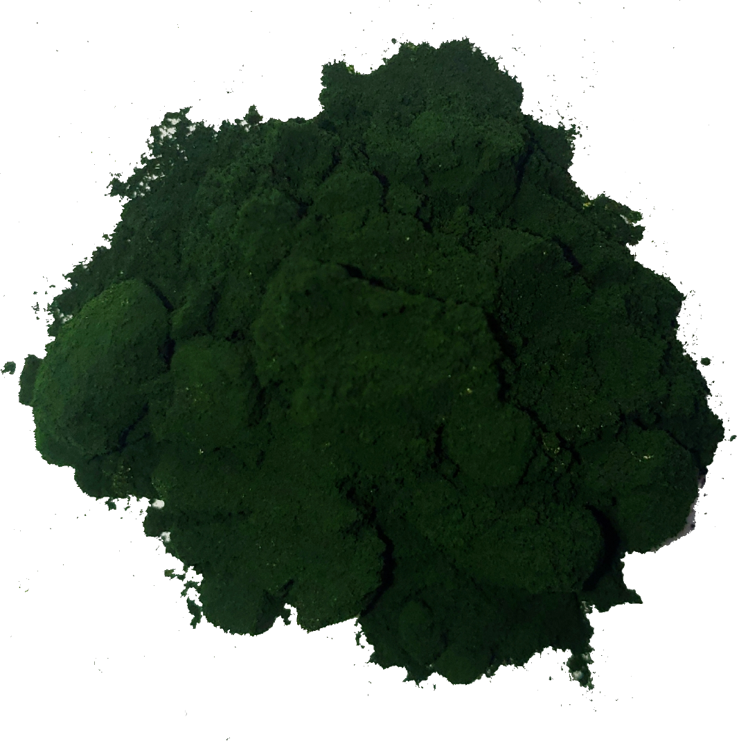A small pile of green chlorella powder. It is one of the ingredients used in the green blend by Smoov.