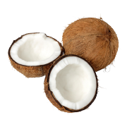 A brown coconut split in half to show the white meat inside. One of the ingredients used in Smoov;s euphoric blend.