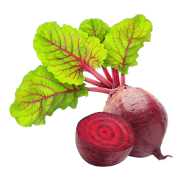 A deep red beet sliced in half to show red flesh on the inside. One of the ingredients used in Smoov's blush blend.