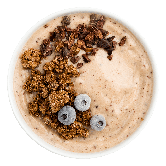 Cacao Smoothie- Looking for a pick-me-up? Craving a chocolatey beverage? Why not have smoothie for dessert. Packed with micronutrients and an instant mood-booster, thanks to Smoov euphoric blend.