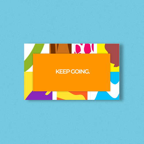 A rectangular card on a light blue background.The border of the card has 7 colourful patterns to represent the 7 Smoov blends and the center says,