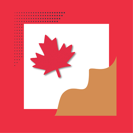 Artistic depiction of Canada. Red border with a brown mountain and red maple leaf cut from paper.