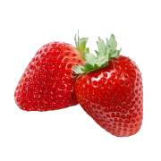 A pair of fresh bright red strawberries. One of the ingredients used in Smoov's blush blend.