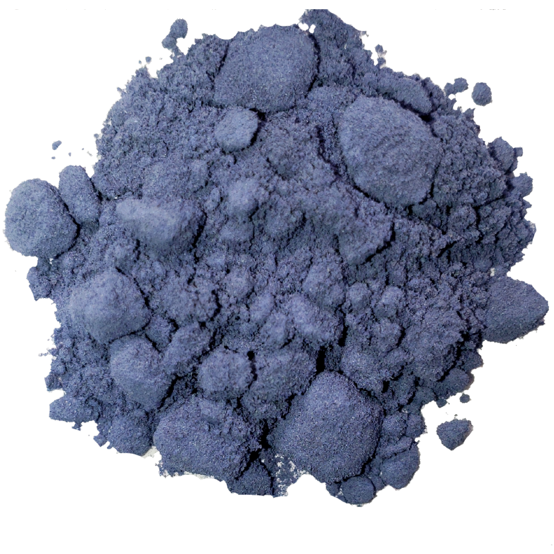 Circle of deep lilac coloured butterfly pea powder from Smoov Blends. Made from blue butterfly pea flowers.