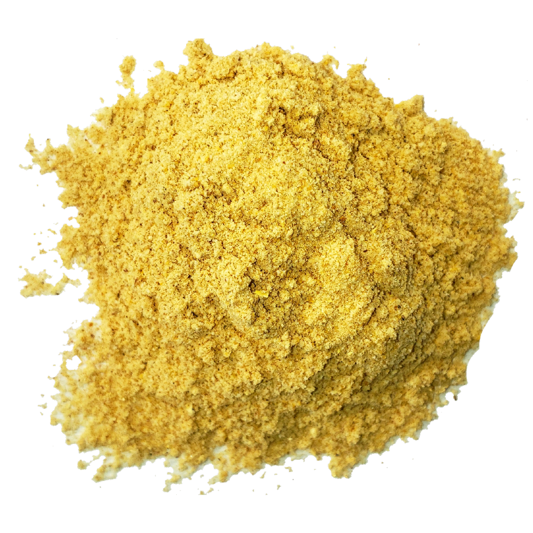 A circle of golden brown mesquite powder from Smoov Blends.