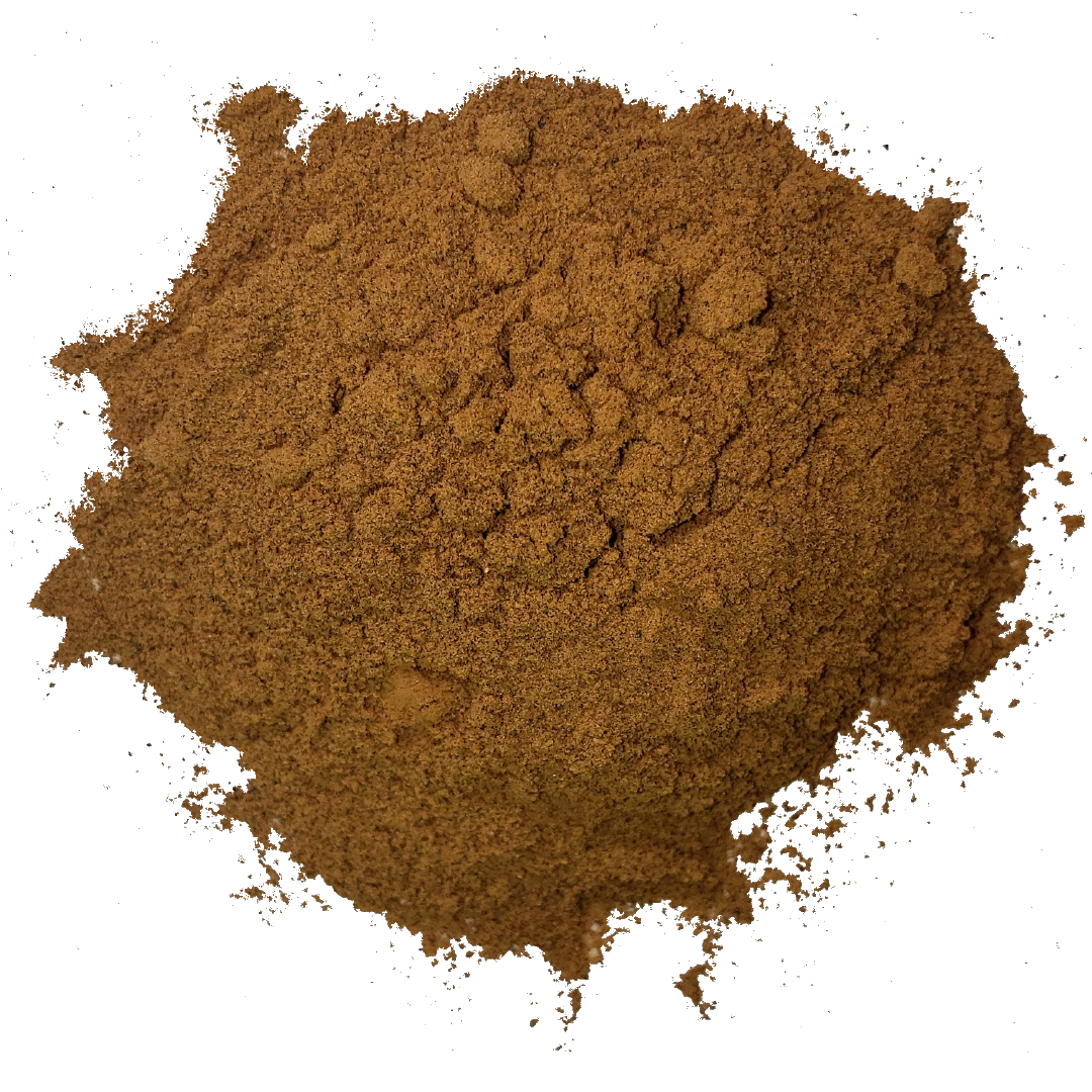Circle of rich brown carob powder from Smoov Blends.