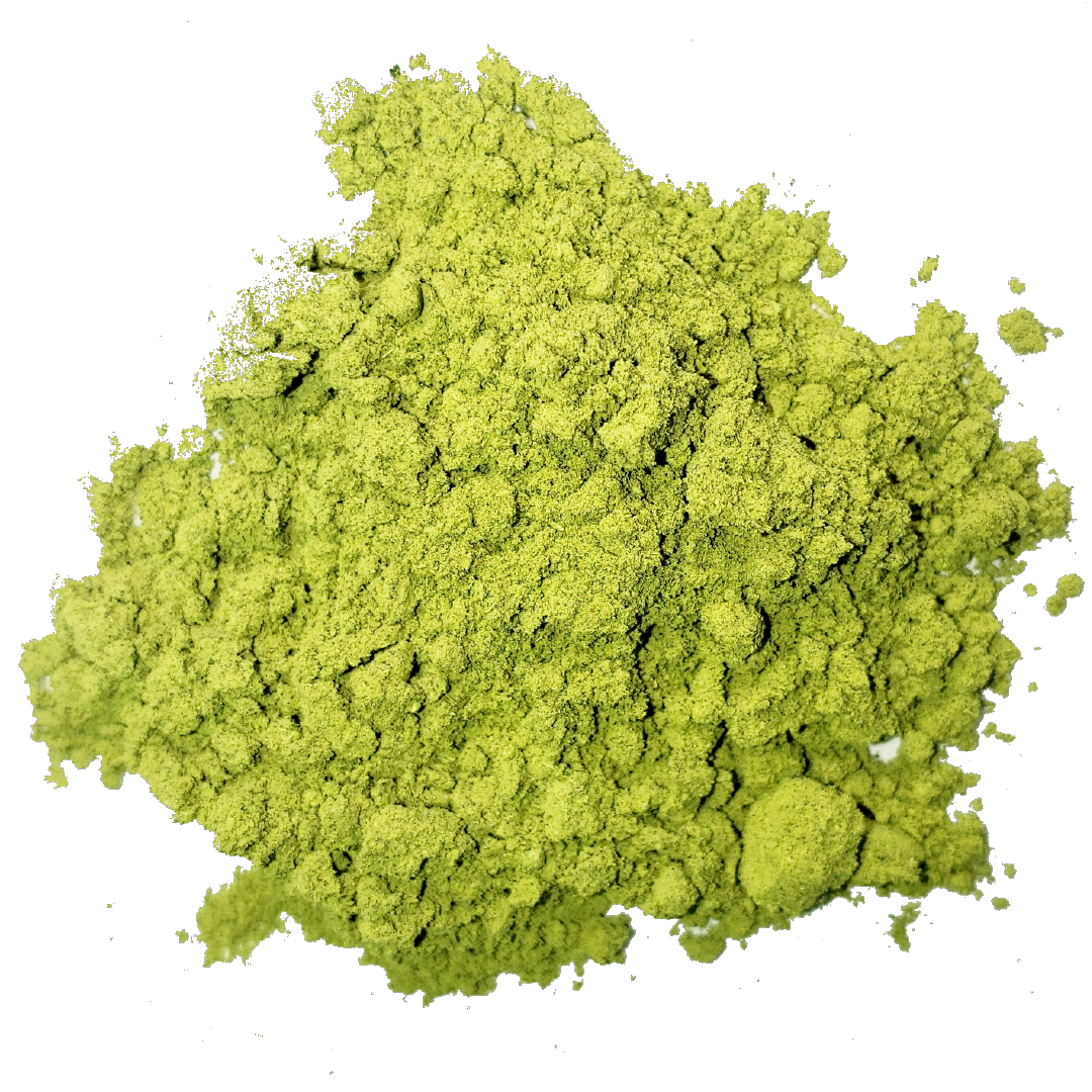 Circle of bright vibrant green moringa leaf powder from Smoov Blends.