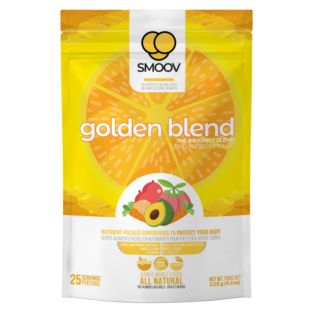 Our golden blend has 5 powerful superfoods and adaptogens to help balance hormones and boost immunity