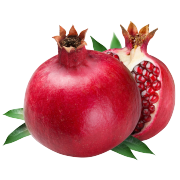 Fresh deep red pomegranate and a half to show bright reed seeds inside. One of the ingredients in Smoov's blush blend.