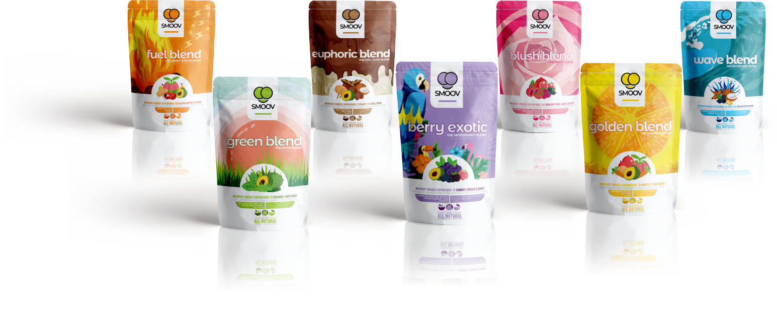 All 7 Smoov Blends lined up on white background- Fuel blend, Green blend, Euphoric blend, Berry Exotic Blend, Blush Blend, Golden Blend and Wave blend
