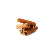 Barks of cinnamon laid on top of each other. It is one of the ingredients used in the wave blend by Smoov.