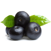 A bunch of dark purple acai berries with bright green rounded leaf. One of the ingredients in Smoov's berry exotic blend.