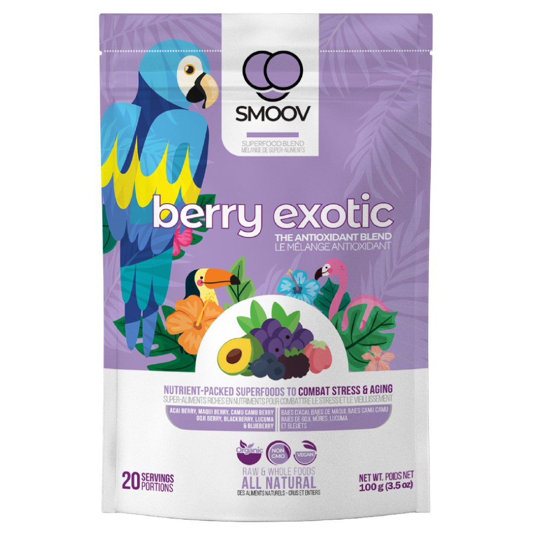 The berry exotic blend is made with the perfect combination of 8 superfoods, 7 of which are the world's most nutritious berries. Packed with antioxidants, these naturally purple foods help boost health and fight against free radicals in your body- to effectively combat stress and aging rendering you, immortal.