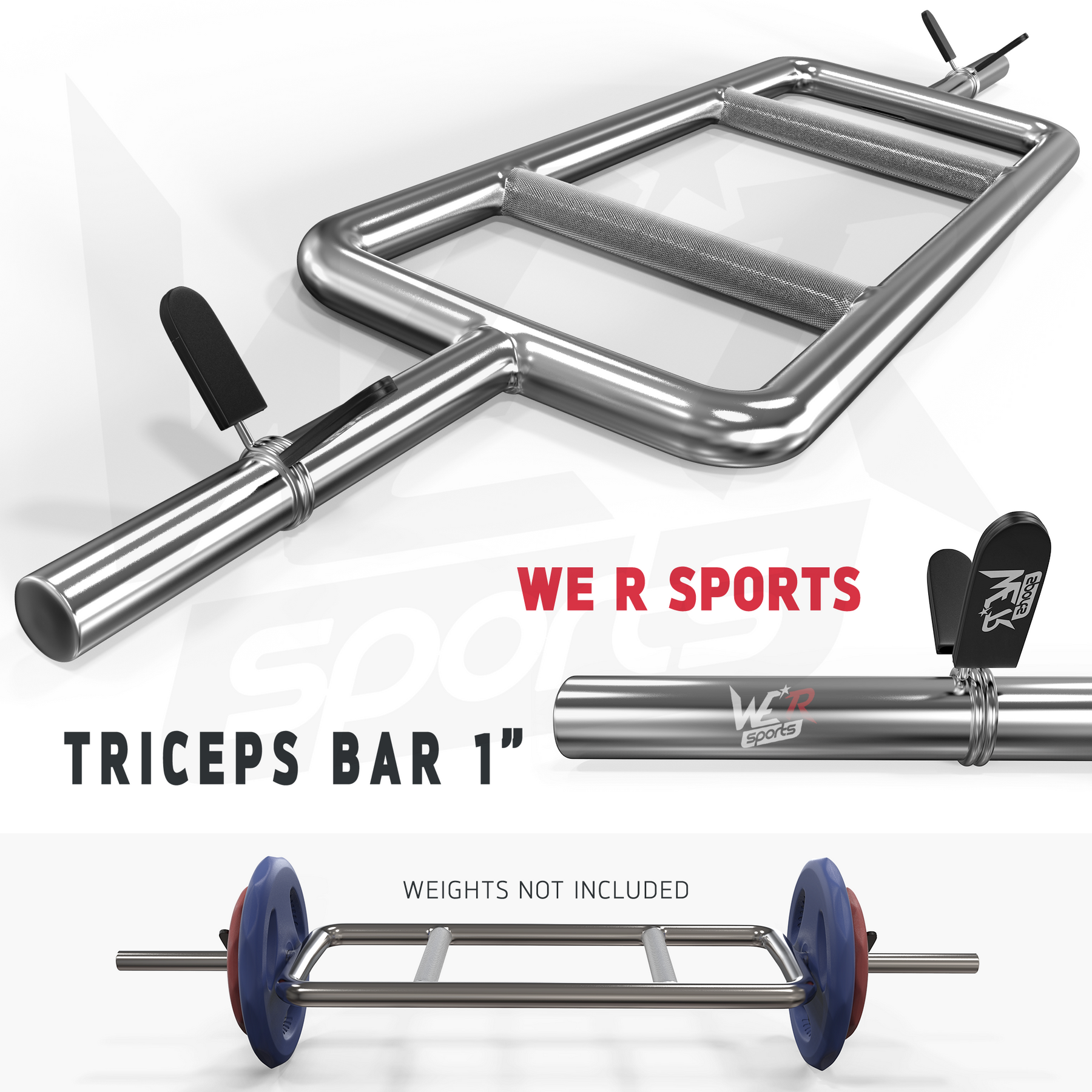 We R Sports BARBELL BAR WITH SPRING COLLAR DUMBBELL WEIGHT LIFTING TRICEPS BAR HOME FITNESS