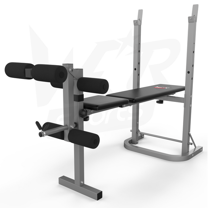 silver and black weight bench