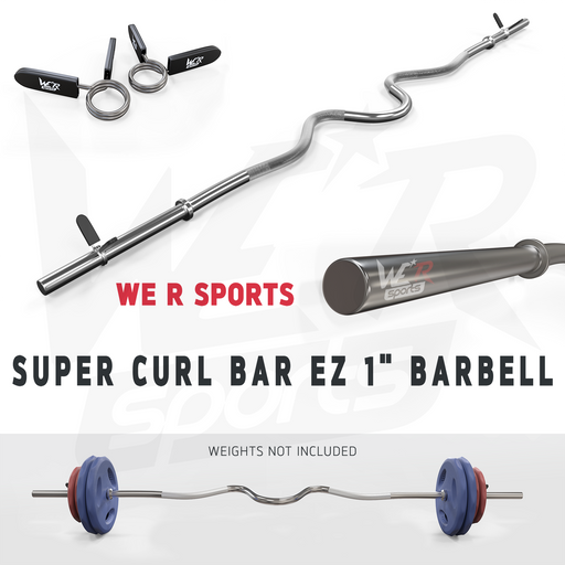 "FlexBar 1"" Super Curl Bar with Spring Collars from WeRSports for weight training"