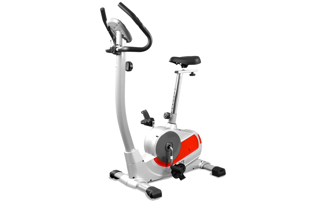 Silver and red exercise bike