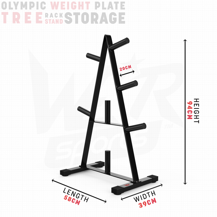 Olympic weight plate tree rack stand storage size dimension