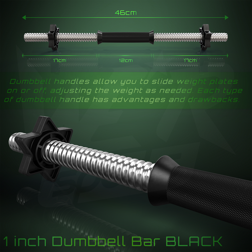Black dumbbell bar product dimensions
