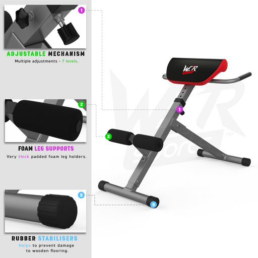 Extension bench for strength training for WeRSports