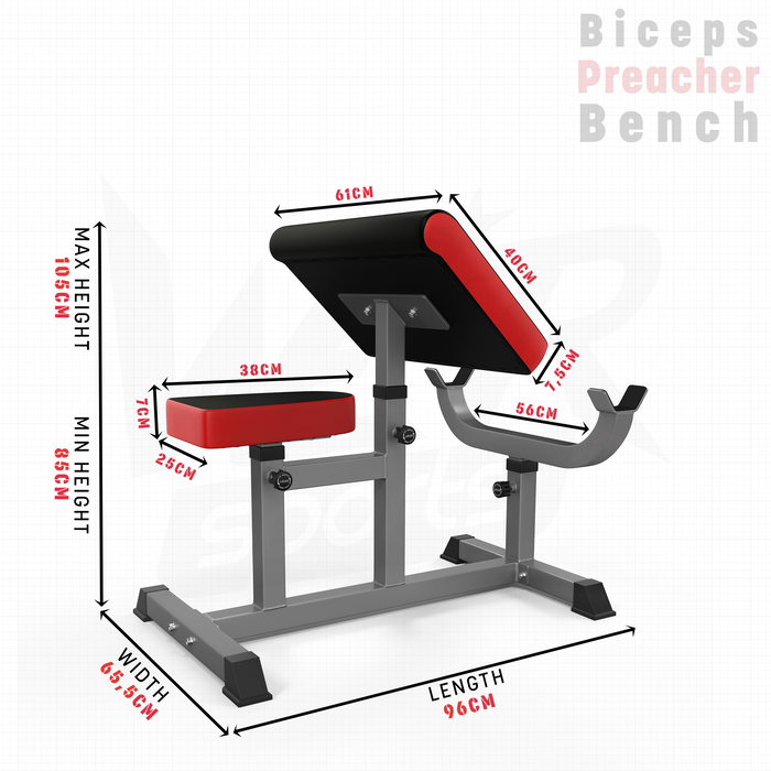 WeRSports preacher bench dimension