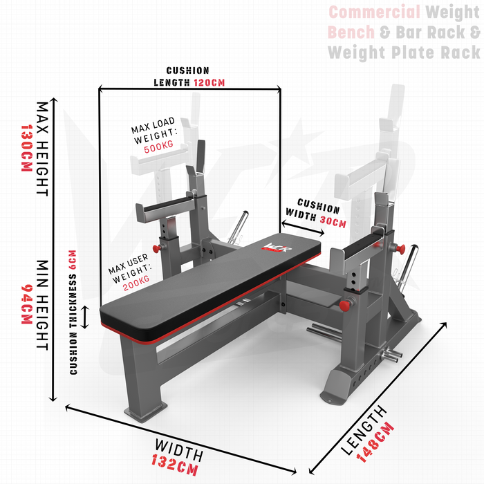 Commercial Weight Bench size dimension