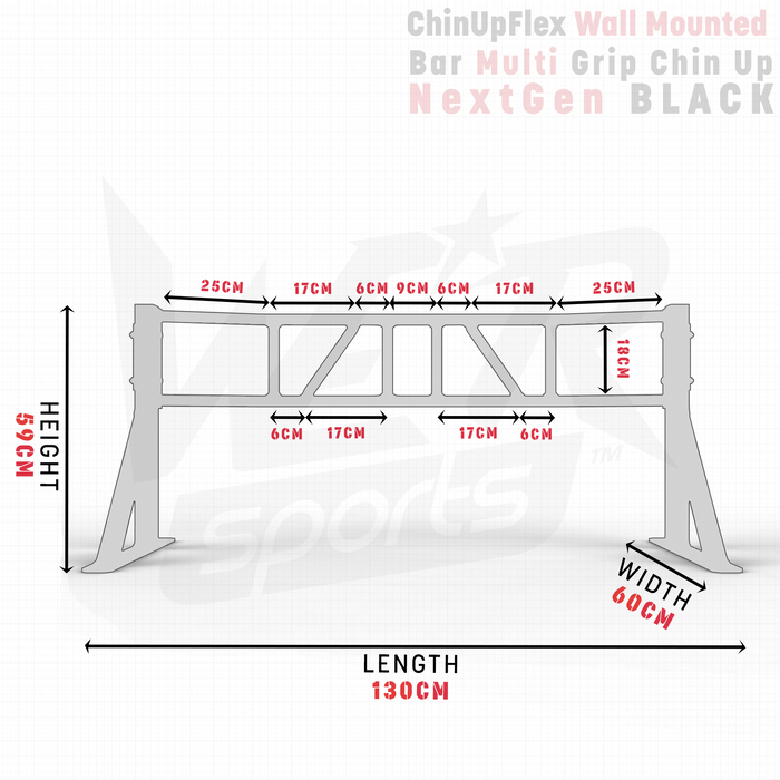 NextGen ChinUpFlex Wall Mounted Bar Multi Grip Chin Up dimensions