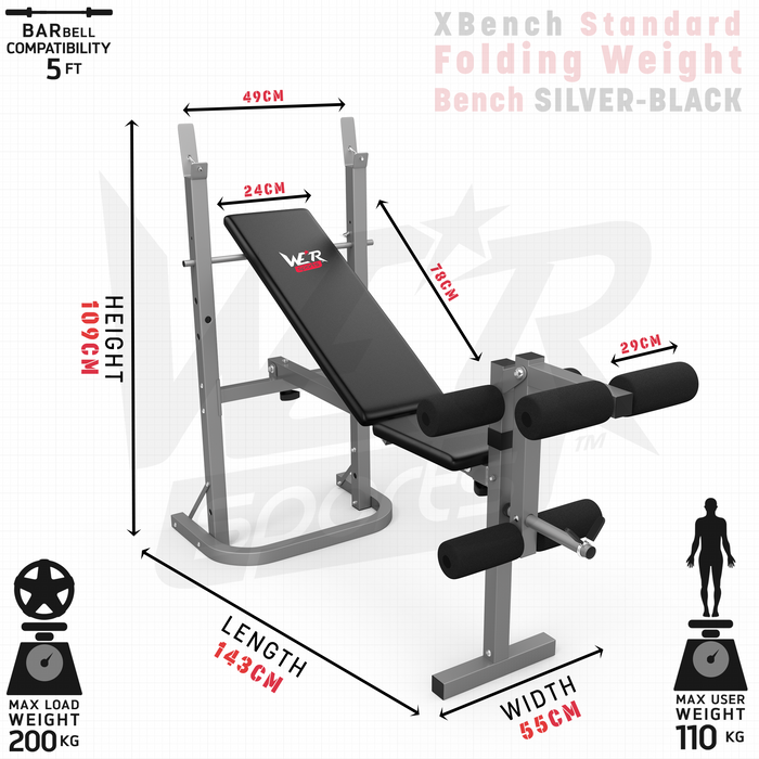 XBench standard folding weight bench dimensions