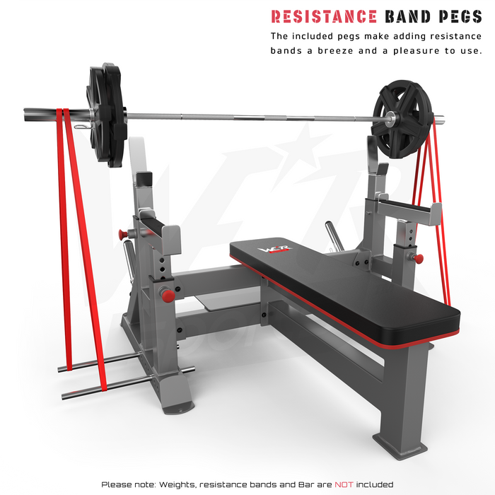 Commercial weight bench resistance band pegs