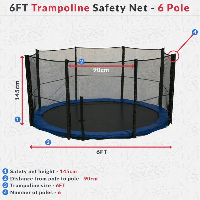 BounceXtreme Trampoline Safety Net dimensions
