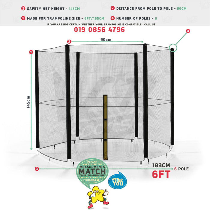 trampoline safety net size dimensions