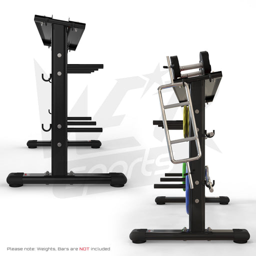 Side view of dumbbell and plate storage rack
