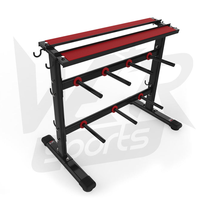 Dumbbell and weight plate storage rack without weights