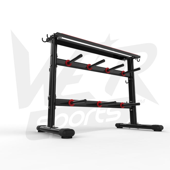 bottom view of dumbbell and weight plate storage rack without weights