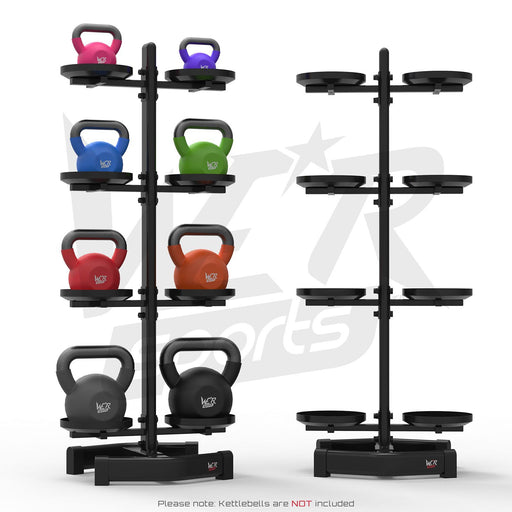 Kettlebell holder rack with and without weights