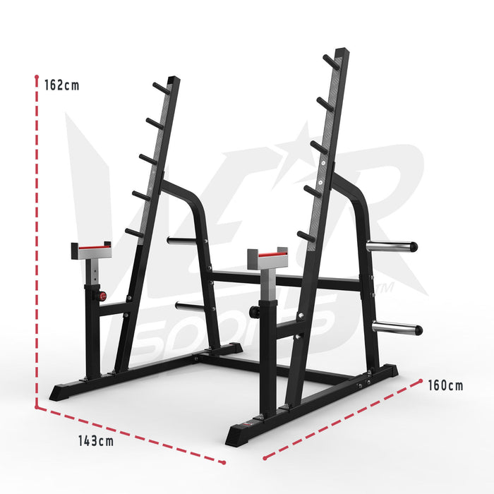 Adjustable Weight Lifting Squat Rack Gym Bench Press Barbell Stand size dimensions