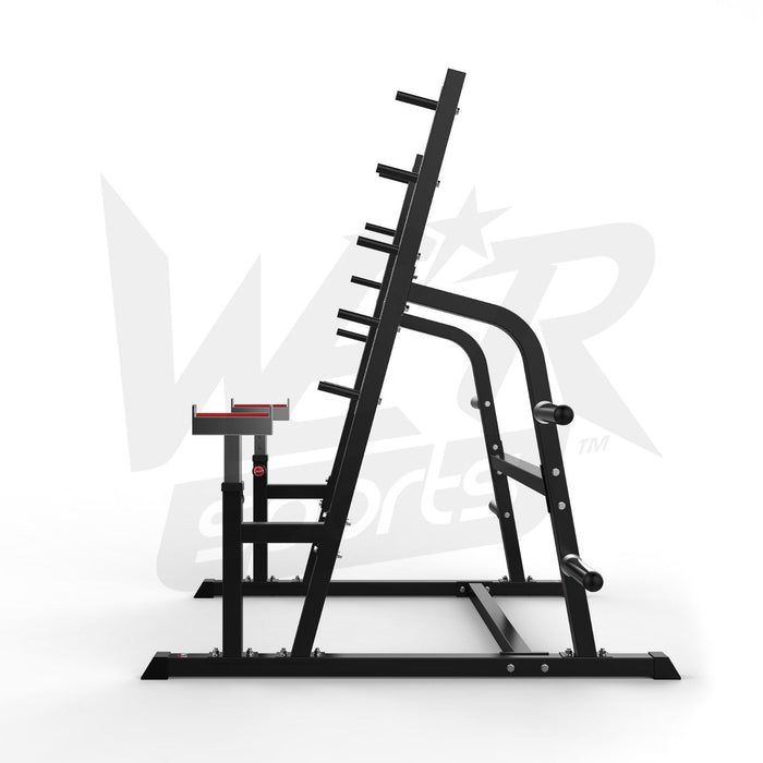 side view of multi gym exercise rack