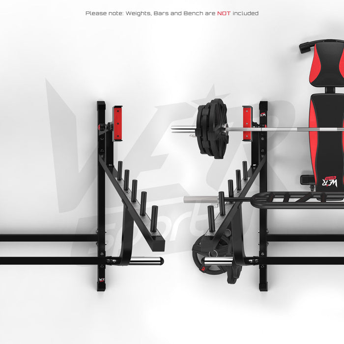 Gym bench press stand with and without weights