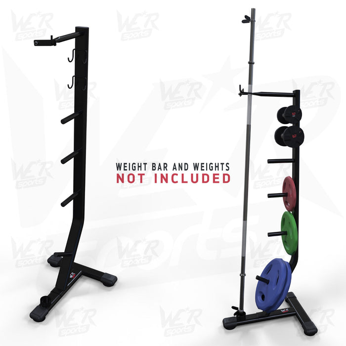 Bar weights storage rack with and without weights