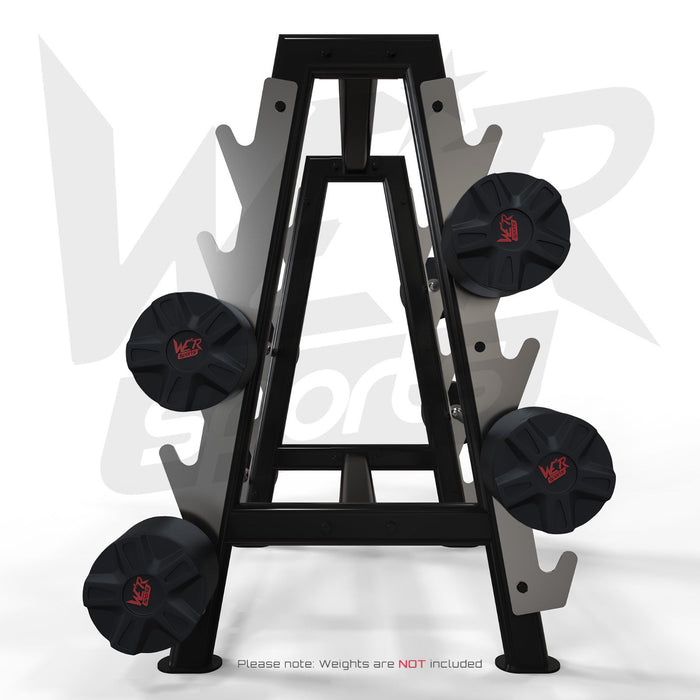 Hex barbell storage rack with weights