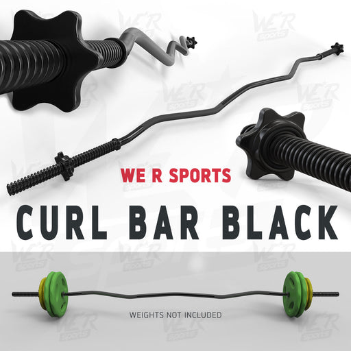 "FlexBar 1"" Black Curl Bar with SpinLock Collar from WeRSports"