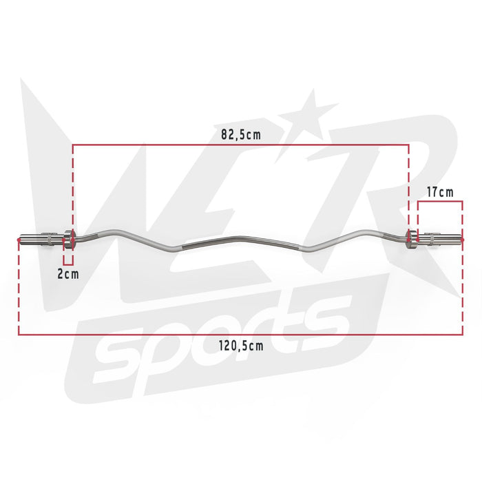 FlexBar Olympic EZ Curl Bar product dimensions