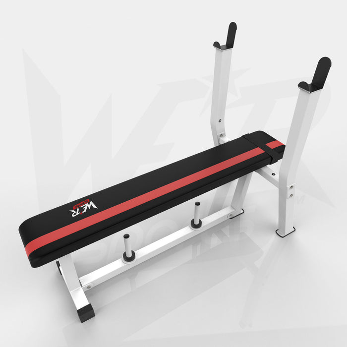 White and red BenchXPower flat weight bench with rack and plate holder from WeRSports