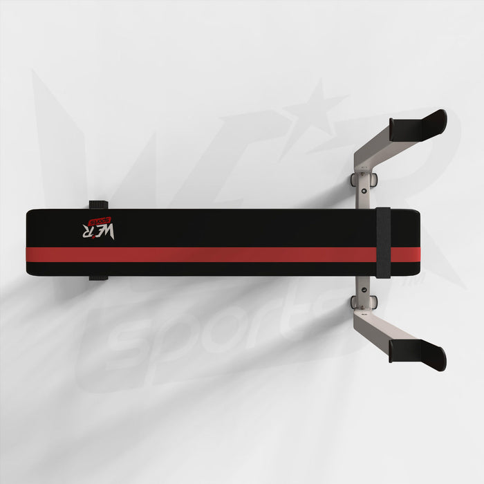BenchXPower flat weight bench with rack and plate holder top view from WeRSports