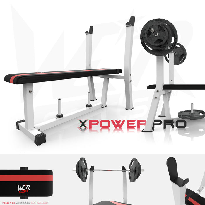 BenchXPower flat weight bench white and red rack and plate holder