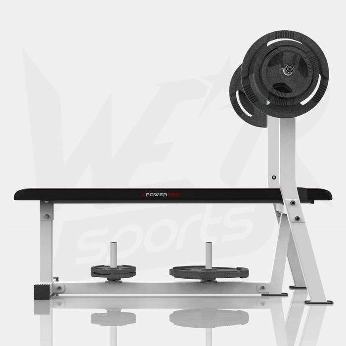 Weight bench with rack and plate holder with weight plates from WeRSports