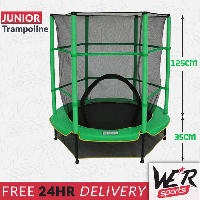 BounceXtreme Junior Trampoline in green with dimensions