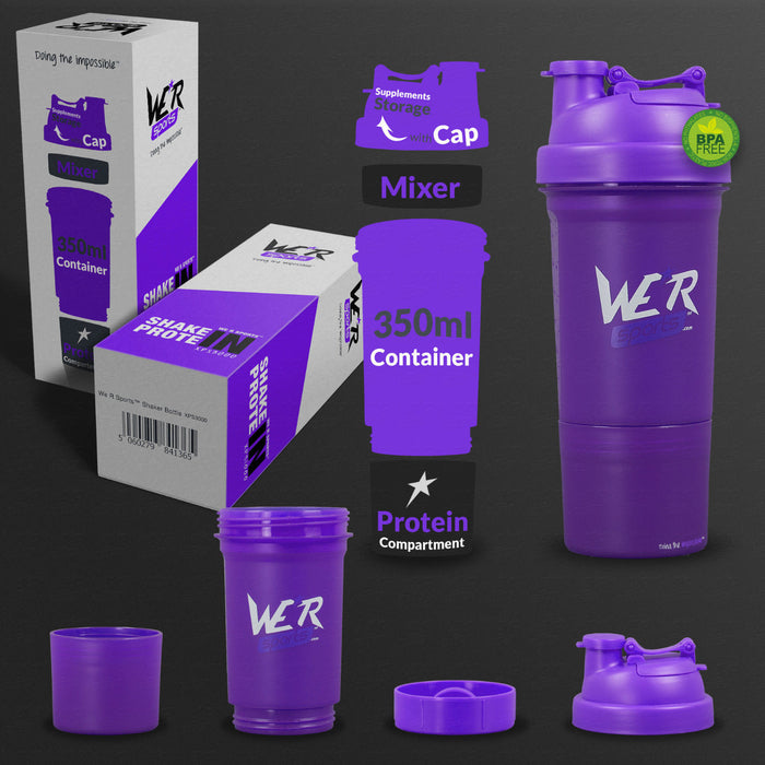 violet blue 350ml shaker bottle from WeRSports