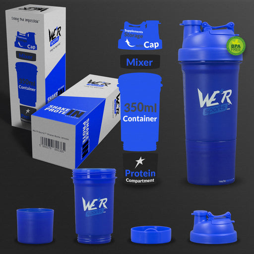 blue 350ml shaker bottle from WeRSports