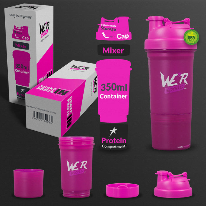 pink 350ml shaker bottle from WeRSports